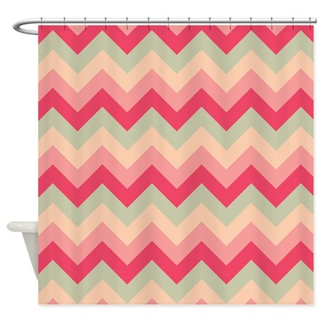 Pink and green zigzag shower curtain by zandiepants for Zig zag bathroom decor
