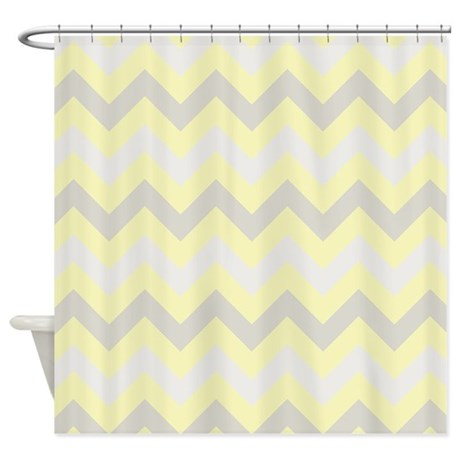 Chevron Bathroom Decor Modern Yellow Grey Zigzag Shower Curtain