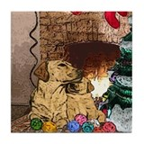 Labrador Christmas Tree Tile Coaster