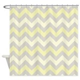 Yellow and Grey ZigZag pattern Shower Curtain