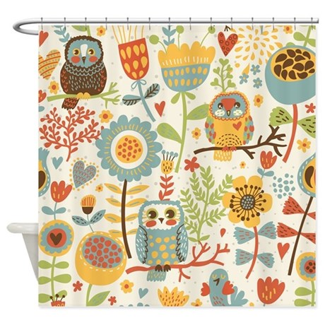 gifts abstract bathroom d cor flowers and owls shower curtain