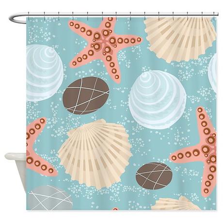 Starfish And Seashells Shower Curtain By BestShowerCurtains