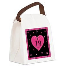 19th Anniversary Heart Canvas Lunch Bag