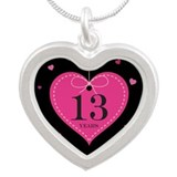 13th Anniversary Heart Silver Heart Necklace
