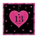 13th Anniversary Heart Tile Coaster