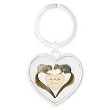 Love Squirrels Heart Keychain