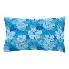Hibiscus Flowers Blue Batik Pillow Case