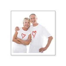 Happy senior couple - Square Sticker 3