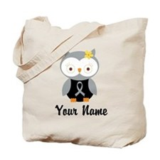 Personalized Gray Ribbon Owl Tote Bag