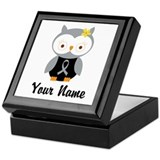 Personalized Gray Ribbon Owl Keepsake Box