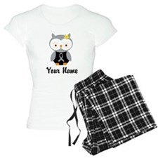 Personalized Gray Ribbon Owl Pajamas