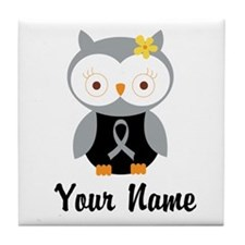 Personalized Gray Ribbon Owl Tile Coaster