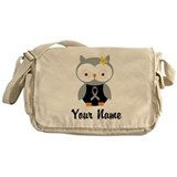 Personalized Gray Ribbon Owl Messenger Bag