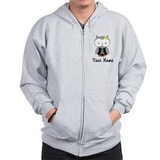 Personalized Gray Ribbon Owl Zip Hoodie