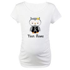 Personalized Gray Ribbon Owl Shirt