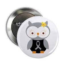 "Gray Ribbon Awareness Owl 2.25"" Button"