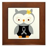 Gray Ribbon Awareness Owl Framed Tile