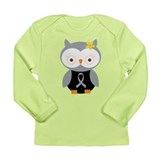 Gray Ribbon Awareness Owl Long Sleeve Infant T-Shi