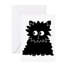 Long Haired Black Cat. Greeting Card