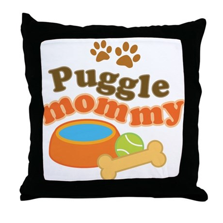 Puggle Mommy Dog Mom Throw Pillow