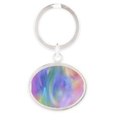 Rainbow Angel Oval Keychain