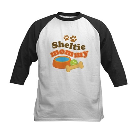 Sheltie Mommy Kids Baseball Jersey