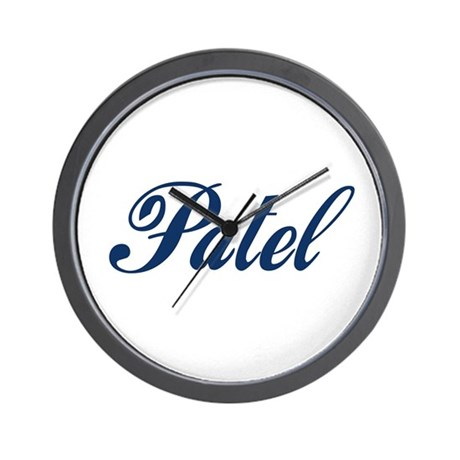 Patel name blue wall clock by desinames for Patel name meaning