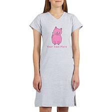 Pink Cat, Custom Text. Women's Nightshirt