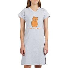 Orange Cat, Custom Text. Women's Nightshirt
