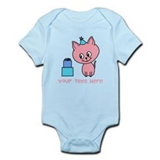 Pink Cat Birthday, with Text. Body Suit