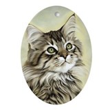 Funny Brown tabby Oval Ornament