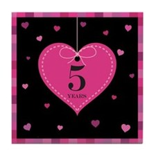 5th Anniversary Heart Tile Coaster