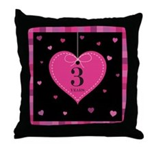 3rd Anniversary Heart Throw Pillow