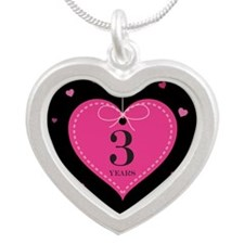 3rd Anniversary Heart Silver Heart Necklace