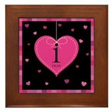 1st Anniversary Heart Framed Tile