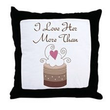 Love Her More Than Cupcakes Throw Pillow