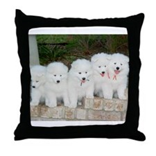 Cute Samoyeds Throw Pillow