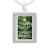 Keep Calm and Smoke Bongs Pot Leafs Silver Portrai