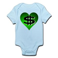 In The Black Dollar Sign Green Heart Infant Bodysu