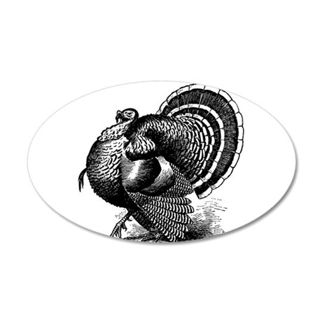 Black and White Turkey in Strut Wall Decal