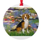 5.5x7.5-Lilies2-Beagle7.png Round Ornament