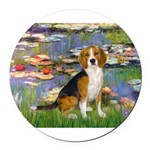 5.5x7.5-Lilies2-Beagle7.png Round Car Magnet