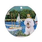 5.5x7.5-Sailboats-Bichon1-C-red.png Ornament (Roun