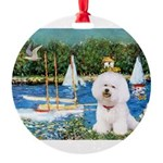 5.5x7.5-Sailboats-Bichon1-C-red.png Round Ornament