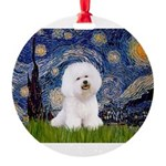 J-ORN-Starry-Bichon1.png Round Ornament