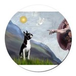 Boston Terrier 3 - Creation of Man Round Car Magne