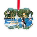 Boston Terrier Sailboats Picture Ornament