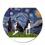 Starry Night & Bos Ter Round Car Magnet