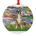 TILE-Lilies2-Boxer2-Nat.png Round Ornament