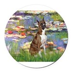 MP-Lilies2-Boxer5-Brindle.png Round Car Magnet